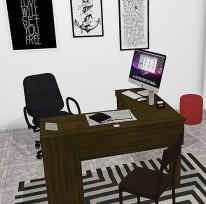 Escritório e sala da Aline