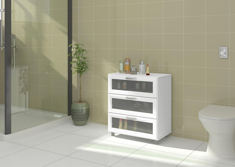 Balcão ITAIM 3 gavetas c/ vidro Ref.: 3296 #987433 1500x1071 Balcao Banheiro Fibra